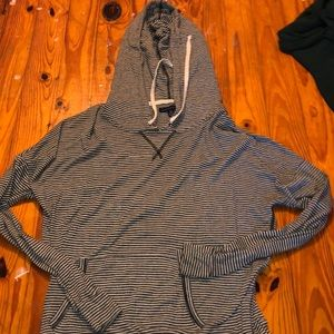 grey and black striped shirt with hood